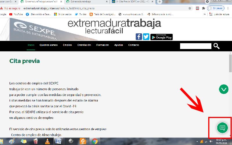 Cita previa SEXPE por internet Servicio extremeño público de empleo
